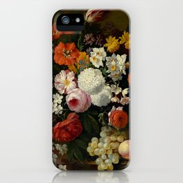 """Philip van Kouwenbergh """"Still life of flowers with roses, peonies, hollyhock, tulips, grapes..."""" iPhone Case"""