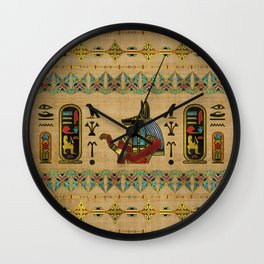 Egyptian Anubis Ornament on papyrus Wall Clock