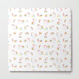 Cute magical rainbow girly pink trendy Unicorn pattern Metal Print