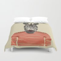 charlie Duvet Covers featuring charlie zebra by bri.buckley