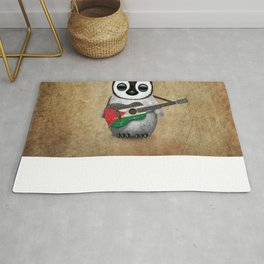 Baby Penguin Playing Palestinian Flag Acoustic Guitar Rug