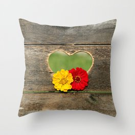 Wooden Heart with Flowers Throw Pillow