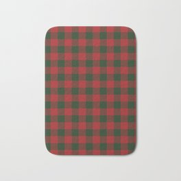 90's Buffalo Check Plaid in Christmas Red and Green Bath Mat