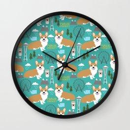 Corgi seattle washington welsh corgi pattern print dog lover gifts space needle ferris wheel coffee Wall Clock