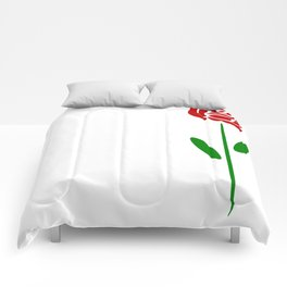 Single Long Stemmed Red Rose Comforters