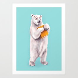Smart Polar Bear Book Lover Art Print