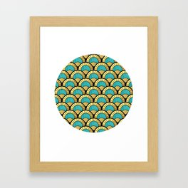 Duck Egg Green Art Deco Fan Pattern Framed Art Print