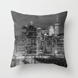 NEW YORK CITY Monochrome Night Impressions | slim panoramic Throw Pillow