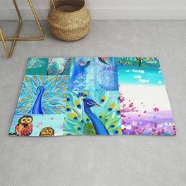 Aqua collage Rug
