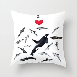 I love dolphins Throw Pillow