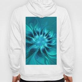 Blue Fantasy, Striking Abstract Fractal Art Hoody