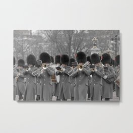 The Band Marches to Buckingham Palace during the Changing of the Guard London England Metal Print