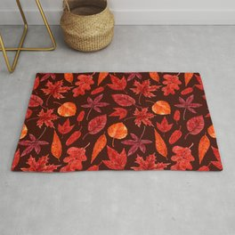 Autumn leaves watercolor Rug