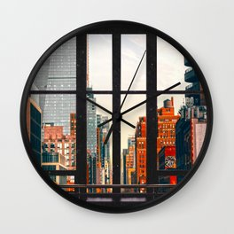 New York City Window #2-Surreal View Collage Wall Clock