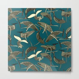just whales blue Metal Print