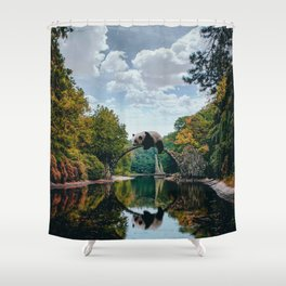 Panda on a bridge Shower Curtain