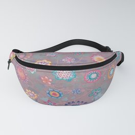 Colorful flowers pattern on pink Fanny Pack