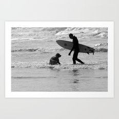 One Surfer And His Dog Art Print