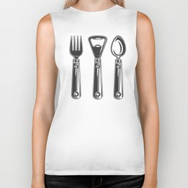 Life set. Lover to eat. Hungry. Glutton. Food Lover. Spoon and a fork. Heavy eater. Eat. Food. Biker Tank