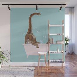 Brachiosaurus in Bathtub Wall Mural