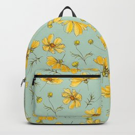 Yellow Cosmos Flower Pattern, Teal Backpack