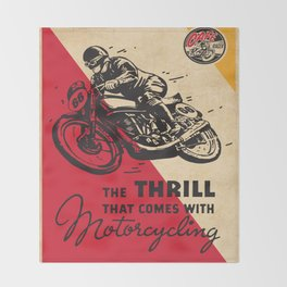 Vintage poster - Motorcycling Throw Blanket
