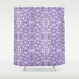 Purple Stripe and Swirling Lines Hand Drawn Pattern Shower Curtain