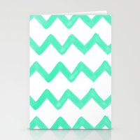 tiffany Stationery Cards featuring Tiffany Chevron by Rebecca Allen