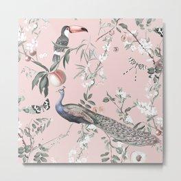 Oriental Peacock Pink Metal Print