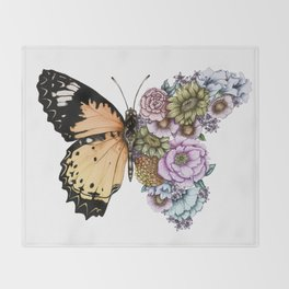 Butterfly in Bloom II Throw Blanket