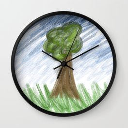 Lonely man against nature Wall Clock