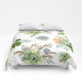 Succulents Mint Green Lavender Lilac Coral Violet Pattern Comforters