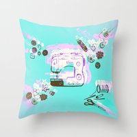 sewing Throw Pillows featuring Sewing Splash by minniemorrisart