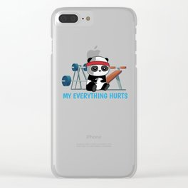 Panda Exercising Sports sarcasm Gift Clear iPhone Case