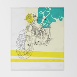 Vintage BSA Super Rocket Motorcycle Art Print Throw Blanket