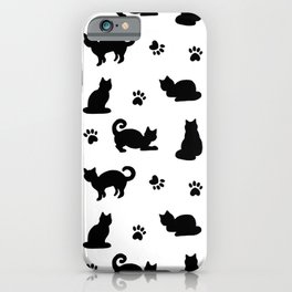 Black Cats and Paw Prints Pattern iPhone Case