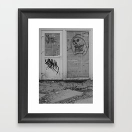 Death's newspaper booth Framed Art Print