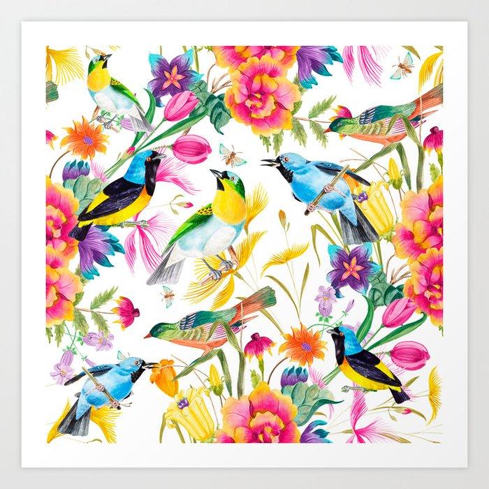 Birds Colourful Floral Motif Pattern Tropical Decor Spring Flowers