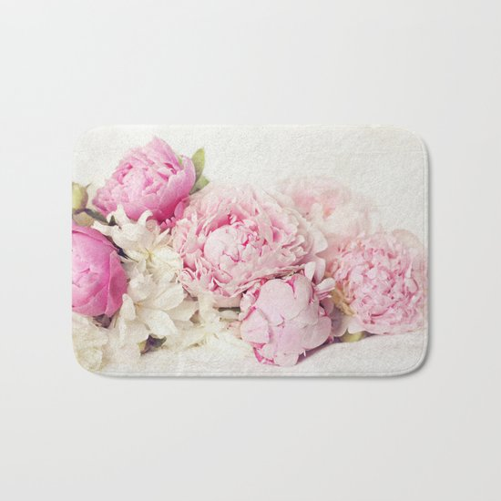 Peonies on white Bath Mat