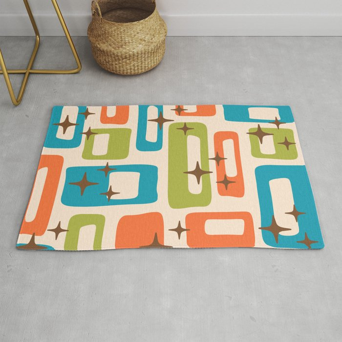 Retro Mid Century Modern Abstract Pattern 921 Orange Chartreuse Turquoise Rug