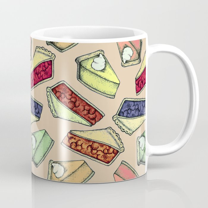 Easy As Pie - cute hand drawn illustrations of pie on neutral tan Coffee  Mug by perrinlefeuvre