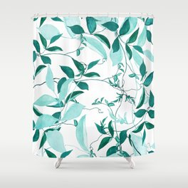 fresh green leaf pattern Shower Curtain