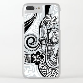 Polynesian FLORAL Tribal Threads Clear iPhone Case