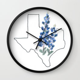 texas // watercolor bluebonnet state flower map Wall Clock