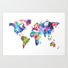 World Map Watercolor Painting Art Print