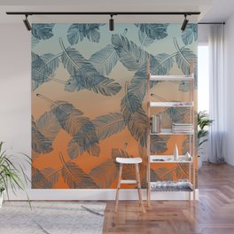 Blue Feathers Pattern Wall Mural