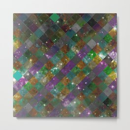 Diamonds In Space - Checkered / Diamond Pattern Overlaying An Abstract Space Background Metal Print