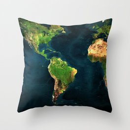 Map of the world from outer space satillite image art Throw Pillow