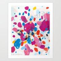 physics Art Prints featuring Fuchsia Physics by Emily Rickard