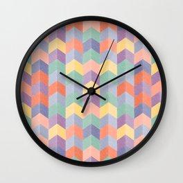 Colorful geometric blocks Wall Clock